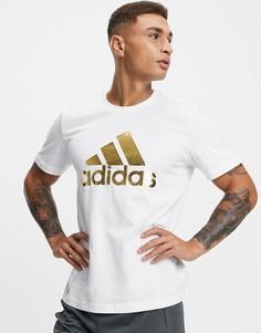 Белая футболка с фольгированным принтом adidas 8-Bit-Белый