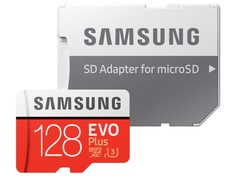 Карта памяти 128Gb - Samsung Micro Secure Digital XC EVO Plus Class10 MB-MC128HA/RU с переходником под SD