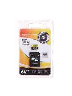 Карта памяти 64Gb - Exployd Micro Secure Digital XC Class 10 UHS-1 Elite EX064GCSDXC10UHS-1-ElU1 с переходником под SD