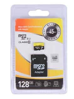 Карта памяти 128Gb - Exployd Micro Secure Digital XC Class 10 UHS-1 Elite EX128GCSDXC10UHS-1-ElU1 с переходником под SD