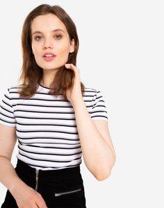 Белая облегающая футболка в полоску Gloria Jeans
