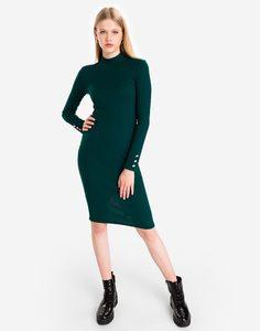 Изумрудное платье платье-водолазка с декором Gloria Jeans