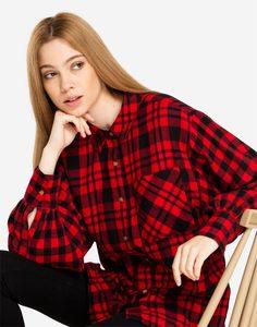 Клетчатая рубашка oversize с разрезами Gloria Jeans