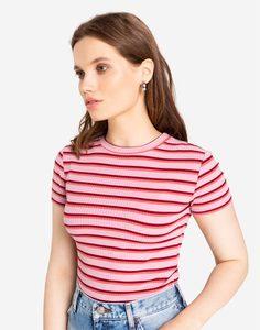 Розовая облегающая футболка в полоску Gloria Jeans
