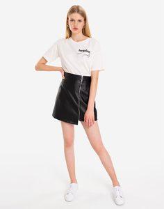 Молочная футболка oversize с надписью Gloria Jeans