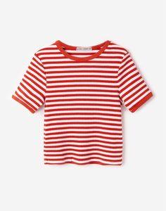 Футболка в красно-белую полоску Gloria Jeans
