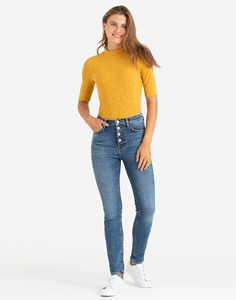 Горчичная футболка в рубчик Gloria Jeans
