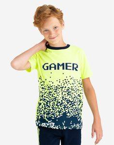 Неоново-зелёная футболка oversize для мальчика Gloria Jeans