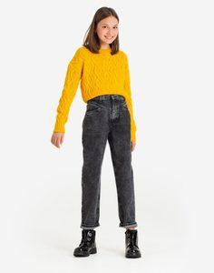Чёрные зауженные джинсы с кокеткой для девочки Gloria Jeans