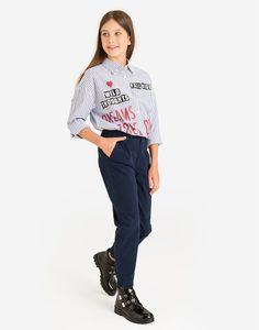 Тёмно-синие брюки-джоггеры для девочки Gloria Jeans