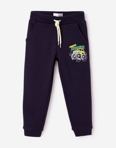 Тёмно-синие спортивные брюки с принтом для мальчика Gloria Jeans
