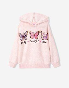 Бежевое худи с бабочками для девочки Gloria Jeans