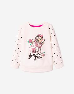 Молочный свитшот с принтом для девочки Gloria Jeans