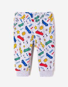 Серые брюки-джоггеры с рисунками для малыша Gloria Jeans
