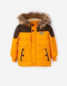 Горчичная утеплённая куртка с искусственным мехом для мальчика Gloria Jeans