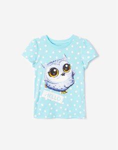 Голубая футболка в горох с принтом для девочки Gloria Jeans