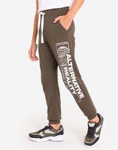 Спортивные брюки хаки с принтом для мальчика Gloria Jeans