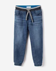Утеплённые джинсы-джоггеры на резинке для мальчика Gloria Jeans