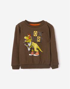 Хаки свитшот с динозавром для мальчика Gloria Jeans