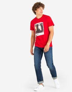 Красная футболка с принтом Gloria Jeans