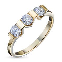 Кольцо из желтого золота с бриллиантом э0301кц07131800 ЭПЛ Якутские Бриллианты