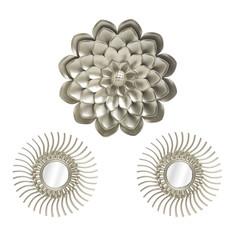 Декор настенный-зеркало, набор 3 предмета tonya (to4rooms) золотой 2 см.