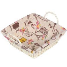 Корзина плетеная Париж розовый Y6-2532 I.K, 23х26х8 см, с металлическим каркасом и текстильной вставкой