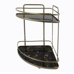 Полка для ванной угловая HP30-892PA/JC-13948 двухъярусная бронза, 22.5х30х33 см