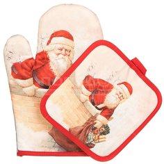 Набор кухонного текстиля, 2 предмета, Дед Мороз (варежка, прихватка) Y6-1914