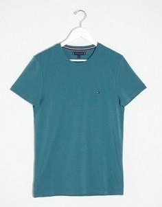 Зеленая узкая футболка с логотипом Tommy Hilfiger-Зеленый