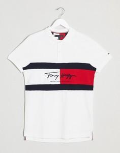 Белое приталенное поло с логотипом-флагом Tommy Hilfiger-Белый