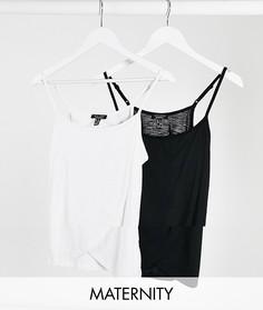 Набор из 2 топов для кормления на бретелях с запахом черного и белого цвета New Look Maternity-Черный