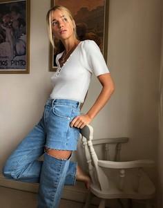 Прямые джинсы в стиле 90-х с разрезом ASOS DESIGN-Синий