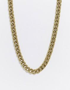 Золотистая короткая цепочка 10 мм ASOS DESIGN-Золотой