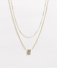 Золотистые тонкие ярусные цепочки с подвеской-крестом ASOS DESIGN-Золотой