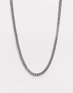 Серебристая тонкая короткая цепочка 4 мм ASOS DESIGN-Серебряный
