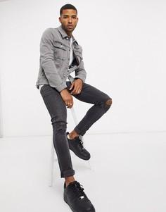 Серая приталенная джинсовая куртка в стиле вестерн ASOS Dark Future-Серый