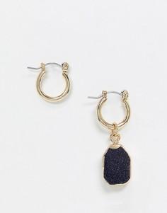 Золотистые серьги-кольца с черными камнями Uncommon Souls-Золотой