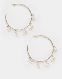 Золотистые серьги-кольца с подвескамиLiars and Lovers-Золотой