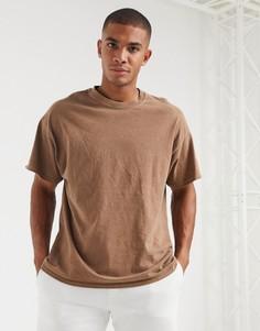 Темно-коричневая футболка с круглым вырезом New Look-Коричневый