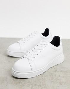 Белые кожаные кроссовки с отделкой лентой с логотипом на пяткеEmporio Armani-Белый