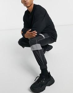 Черные джоггеры карго со светоотражающими вставками Sixth June-Черный