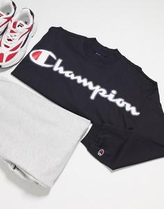 Короткий черный свитшот прямого кроя Champion
