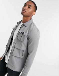 Серая трикотажная куртка-карго от комплекта Mauvais-Серый