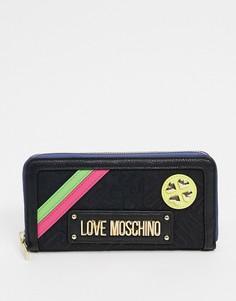 Черный большой кошелек с жаккардовыми вставками и логотипомLove Moschino