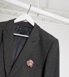 """Темно-серый пиджак супероблегающего кроя с узором """"в елочку"""" ASOS DESIGN Tall wedding"""