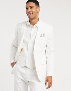 Белый пиджак узкого кроя из смеси хлопка и льна ASOS DESIGN wedding