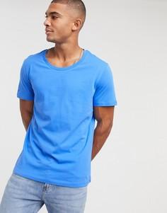 Синяя футболка с овальным вырезом ASOS DESIGN-Синий