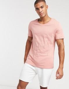 Розовая футболка с овальным вырезом ASOS DESIGN-Розовый