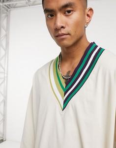 Светло-коричневая футболка в стиле oversized с рукавами 3/4 ASOS DESIGN-Бежевый